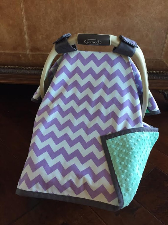 items similar to super cute baby car seat covers chevron in lavender and mint green minky. Black Bedroom Furniture Sets. Home Design Ideas