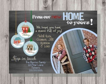 Digital Personalized Chalkboard Style New Address Moving Photo Christmas Greeting Card Print Your Own