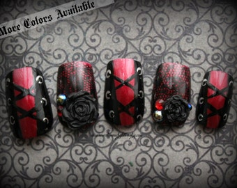 "Gothic Nail Art ""Temptress,"" Corset False Nails, Fake Nails, Japanese Nail Art,  Goth, Gothic, Fashion, Vampire, Goth Lolita, Acrylic Nail"