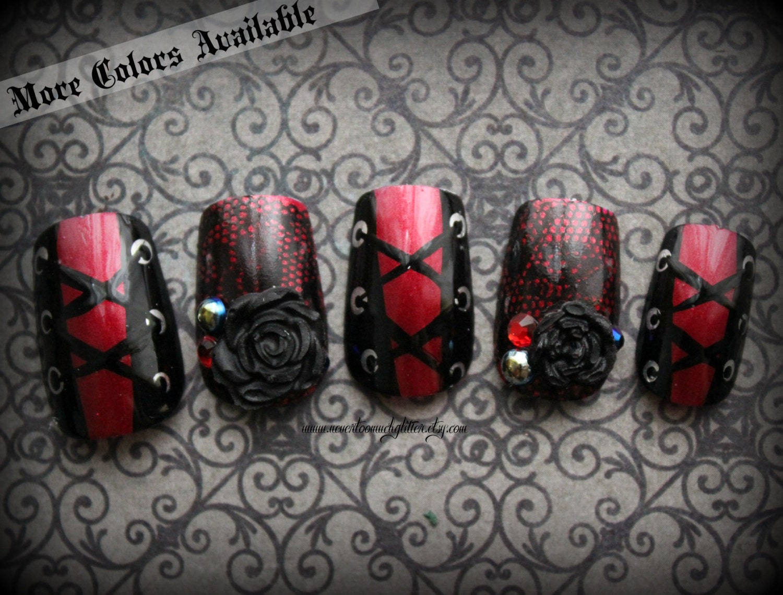 Corset fake nails sexy temptress nails gothic nail art zoom prinsesfo Gallery