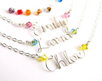 Child Name Necklace. Sterling Silver Girls Name Necklace with Swarovski Crystals