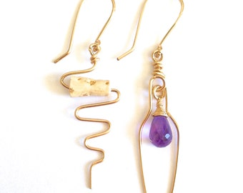 Wine Lovers Amethyst Earrings. Wine Bottle and Cork Screw Gold Earrings with Amethyst and Cork. Purple Amethyst Earrings. Cork Earrings.