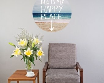 """Leah Flores """"Happy Place"""" Circle Wall Decal 20x20"""