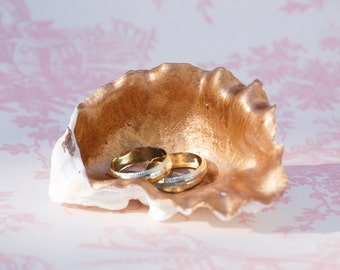 Shell Ring Pillow Wedding GOLD White Shell Pearl Sea Inspired Ring Bearer Dish Mermaid Ocean Beach