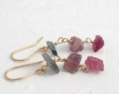 Candy pink greeen raw Tourmaline earrings goldfilled, natural stone eardangle