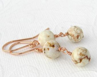 White Magnesite earrings, dangle, pink goldfill