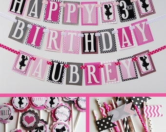 Girl Doll Birthday Party Decorations Package Fully Assembled Black Pink