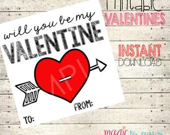 INSTANT DOWNLOAD Printable Mason Jar  Valentines for Valentines Day