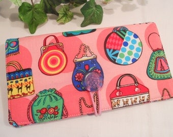 """CHECKBOOK Cover with Elastic Closure and Pen Loop in """"Pink Purses"""""""