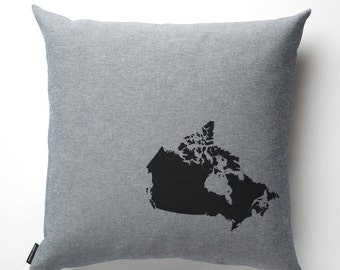 Map of Canada Pillow in Denim with fill