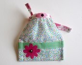 Barbie Doll Apron Handmade with Applique Daisy Pastel Polka Dots, Pocketed