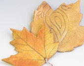 Goldenrod maple or oak leaf ornament