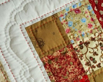 Mini Quilt Table Centerpiece Red and Brown