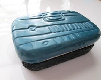 Handmade Metal Tin - Metallic Blue Metal Tin, Polymer Clay Box, Polymer Clay Tin, Blue Metal Tin, Textured, Gift for Her, Mom Gift
