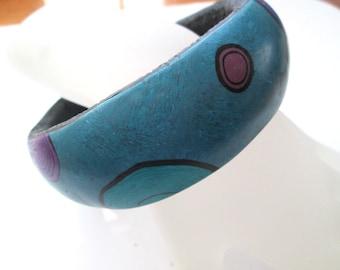 Starry Night Blue Bangle Bracelet, Handmade Bracelet, Polymer Clay Bracelet, Jewelry, Blue Bracelet, Gift for Her, Mom Gift