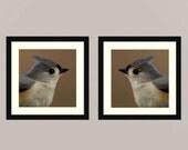 Titmouse set 4 -  gift idea Nature beauty green Feathered friend birder watching Love bird wall decor Birder back yard friends wall Fine Art