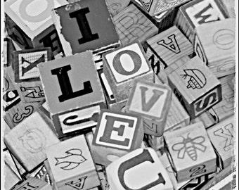 O - I LOVE U Valentine giftI love you for him for her gift  Black and white for love I heart you I heart u Fine Art Print