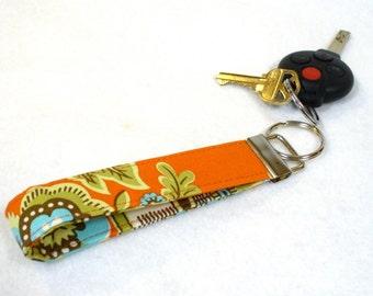 Wristlet Key Fob Amy Butler Fabric Royal Garden Belle Keychain Key Ring Fabric Keyring Clay Orange Turquoise Blue MTO
