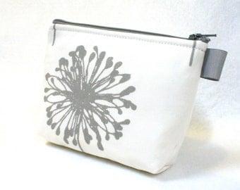 White Gray Large Dandelion Fabric Gadget Pouch Cosmetic Bag Zipper Pouch Makeup Bag Cotton Zip Pouch MTO