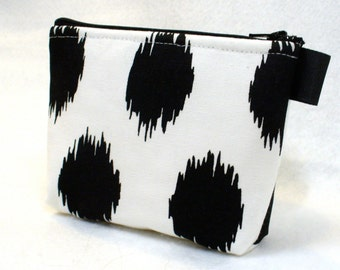 Ikat Dots Fabric Bridesmaid Gift Cosmetic Bag Zipper Pouch Makeup Bag Gadget Pouch White Black Spots MTO