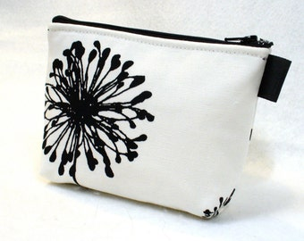 Black and White Large Dandelion Fabric Gadget Pouch Cosmetic Bag Zipper Pouch Makeup Bag Cotton Zip Pouch MTO