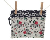 Black and White, Music Notes, Roses, Reversible Project Bag, Medium