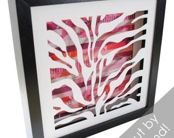 zebra stripes shadowbox- made from recycled magazines, modern, pattern, zebra, animal print, zoo, interior design