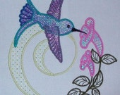 Machine Embroidery Design- Hummingbird Colorline #03 with 3 sizes Included!