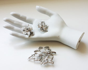 Beautiful Emmons Mid Century Silver Leaf Earrings & Brooch Set - FREE SHIPPING