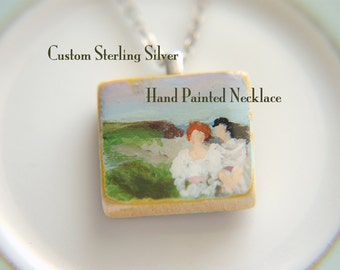 Sterling Silver Custom Necklace Hand Painted Lady or Gentleman Wood Tile  -  Lady Collection.