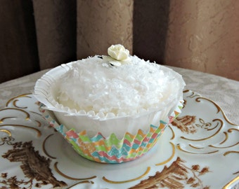Coconut Cupcake Easter Liner Faux Fake Food Photo Staging Prop