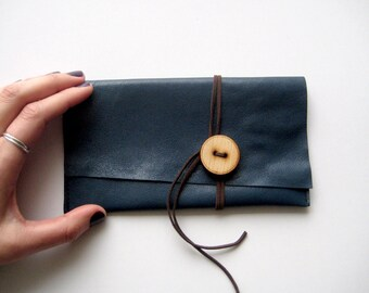 Navy blue leather pouch, dark blue purse, small clutch, tobacco pouch, leather money purse,  genuine leather, cosmetics case