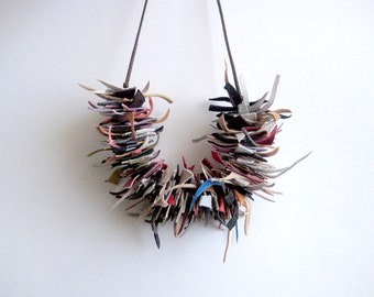 Leather fringe necklace colorful necklace boho necklace statement tassel leather necklace leather rock necklace bohemian accessory