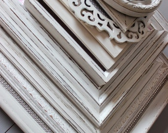 Shabby Chic Gallery Collection of Mixed Wall Frames - White , Pink and Grey Nursery Decoration