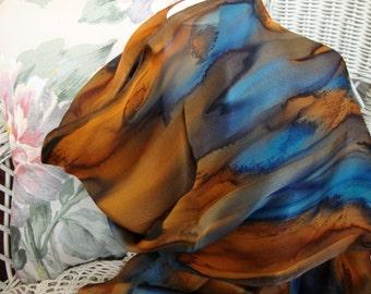 Scarf, Silk, Women, Hand Dyed, Silk Scarf, Marine and Cognac
