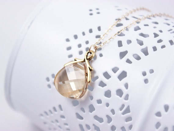 Bridesmaid Jewelry Crystal Golden Shadow Necklace in Gold