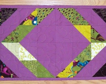 """Spring quilted Table Topper glorious colors  11""""X37.5"""" chevron designs scrappy"""