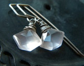 Sterling silver and pentagon cut rose quartz crystal earrings - handmade jewelry