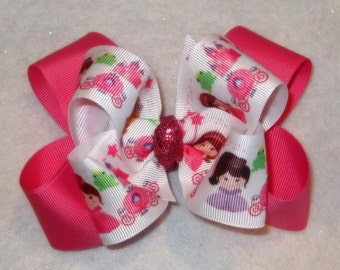Fairy Princess Pink Fairytail Double Layered Boutique Lush Hair Bow Spikey Edges 2 sizes Baby Toddler Little Girl