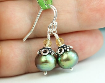 Pearl drop earrings, Dragonfly green freshwater pearls with faceted Citrine, pearl everyday earrings, Free shipping in Canada, by art4ear