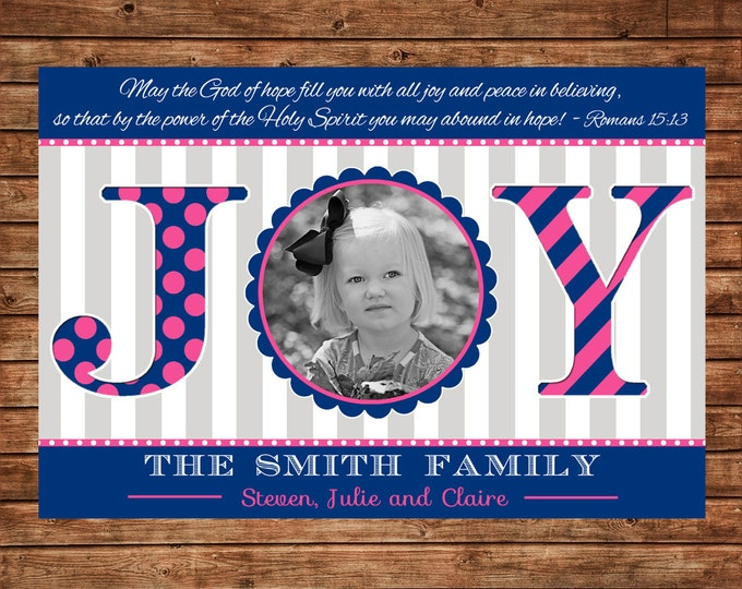 Christmas Holiday Photo Card Navy Pink Grey Joy - Can Personalize - Printable File or Printed Cards