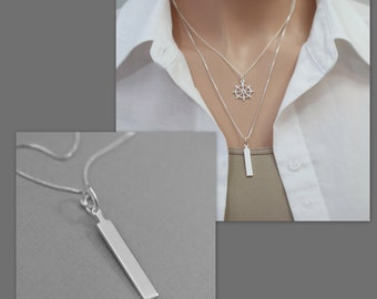 Bar Necklace, Sterling Silver Bar Pendant on Sterling Silver Necklace Chain, Silver Layering Necklace, Casual Necklace, Everyday Necklace