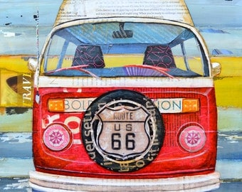 ART PRINT or CANVAS Volkswagen vw Van Bus volkswagen Route 66 wall home decor poster retro vintage summer gift beach gift for him, All Sizes