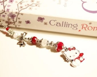 Hello Kitty bookmark, cat, kitty, bow, red, white, beaded metal bookmark, Tibetan silver