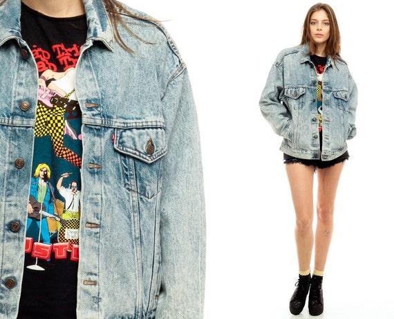 giacca di jeans levis giacca lavaggio acido 80s grunge jean