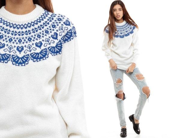 FAIR ISLE Sweater Love HEART 70s Hippie Norwegian Sweater