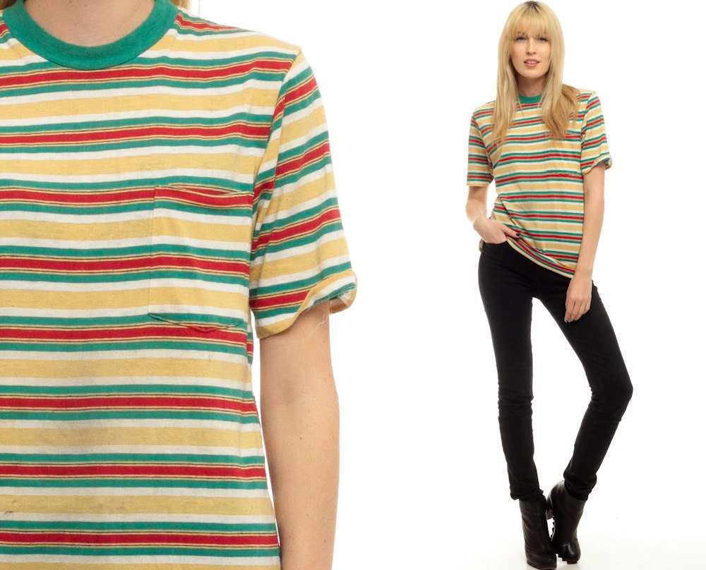 Striped tshirt 80s t shirt green yellow red top ringer pocket for Best striped t shirt