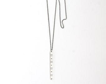 "Slender silver necklace, simple and modern design perfect for daily wear on its own or layered with other necklaces - ""Reverb Necklace"""