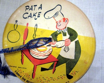 "SALE Pat A Cake and Lucy Locket. Record Guild of America Children's Record 6 1/2"" Diameter"
