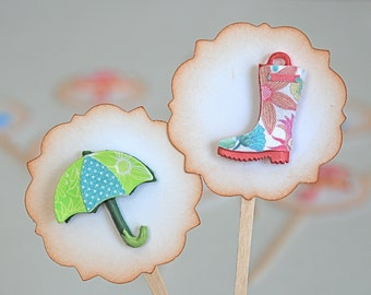 Umbrellas & Rain Boots - Shower Cupcake Toppers/Party Sticks